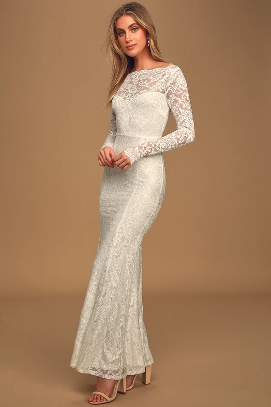 Farida White Lace Long Sleeve Maxi Dress