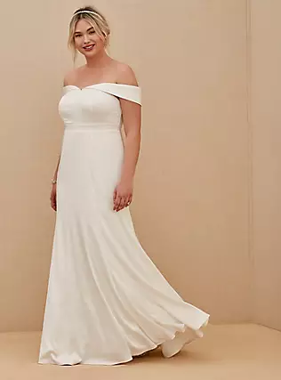 Ivory Satin Off Shoulder Mermaid Wedding Dress, CLOUD DANCER, hi-res